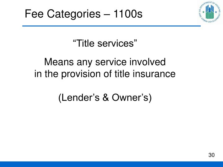 Fee Categories – 1100s