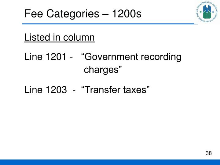 Fee Categories – 1200s