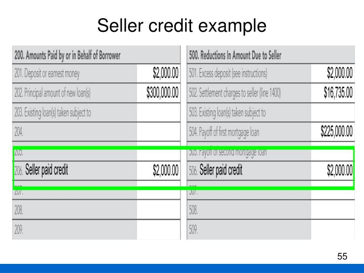Seller credit example