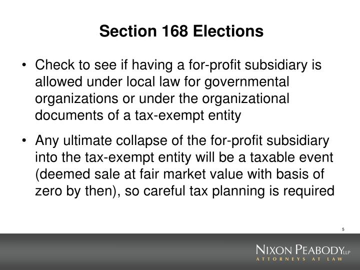 Section 168 Elections