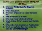 answer these questions about a story for all time