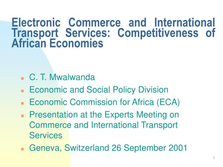 electronic commerce and international transport services competitiveness of african economies n.