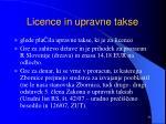 licence in upravne takse