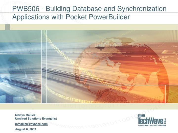 pwb506 building database and synchronization applications with pocket powerbuilder n.