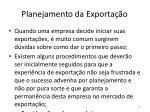 planejamento da exporta o