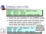 creating a join in sql