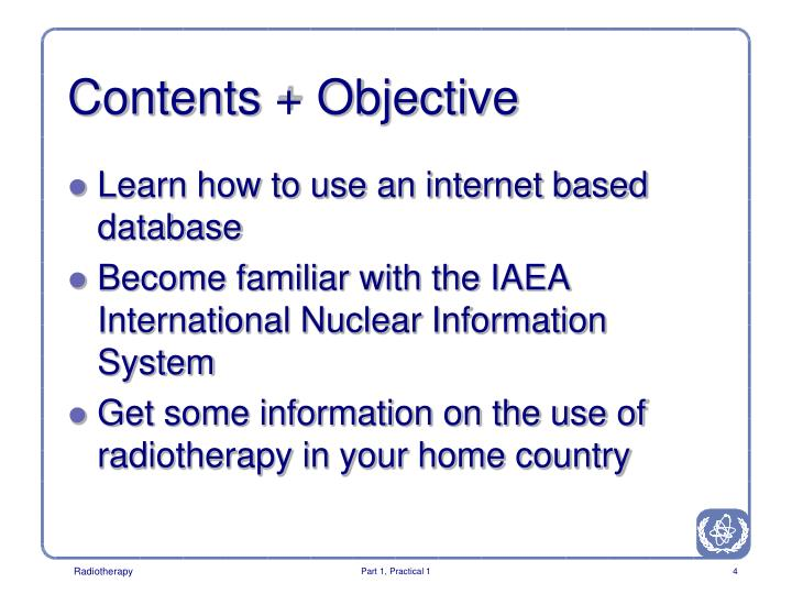 Contents + Objective