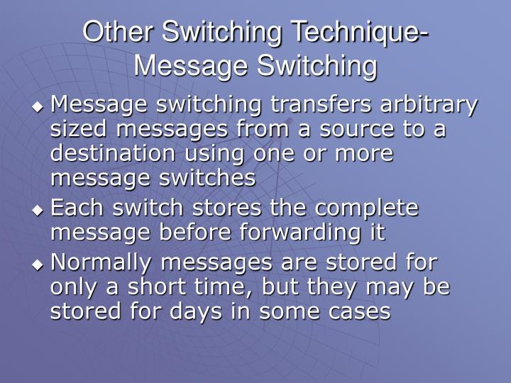 Other Switching Technique-Message Switching
