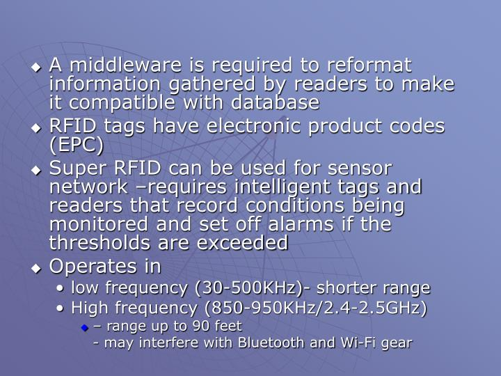 A middleware is required to reformat information gathered by readers to make it compatible with database