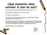 qu elementos debe contener el plan de aula