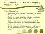 public health food defense emergency response plan