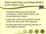 public health roles and responsibilities at the federal level