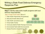 writing a state food defense emergency response plan