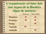 l organitzaci cel lular dels cinc regnes de la biosfera tipus de nutrici