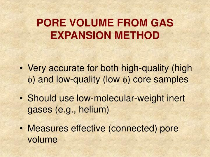 PORE VOLUME FROM GAS EXPANSION METHOD