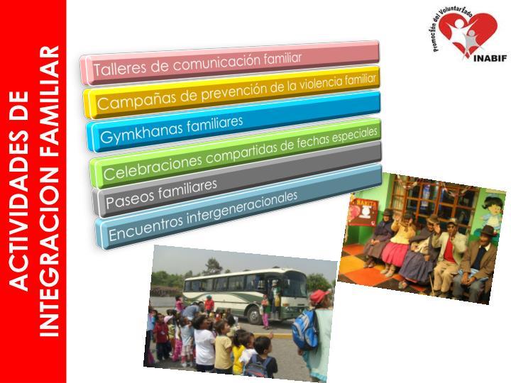 ACTIVIDADES DE INTEGRACION FAMILIAR