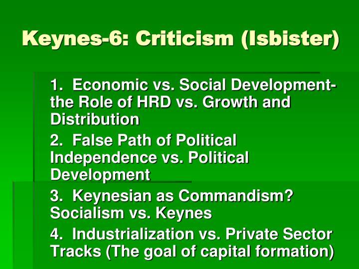 Keynes-6: Criticism (Isbister)