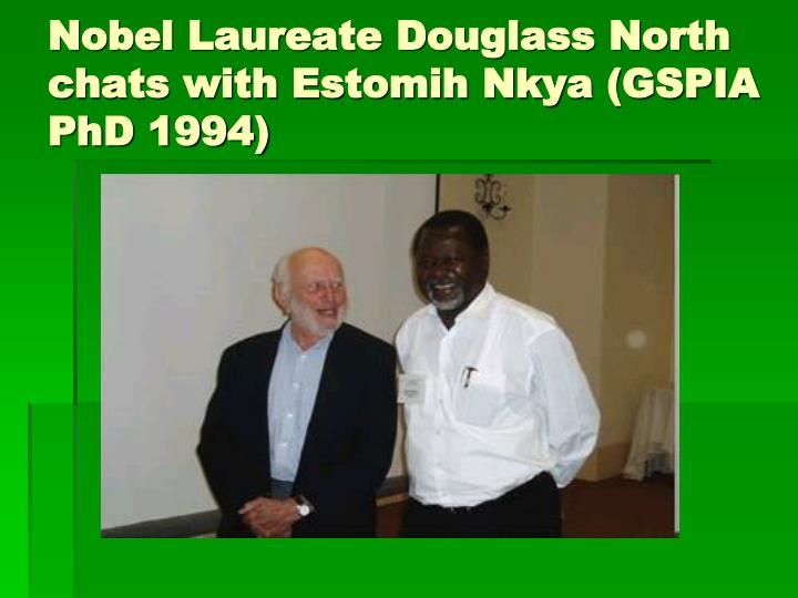 Nobel Laureate Douglass North chats with Estomih Nkya (GSPIA PhD 1994)