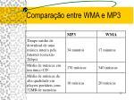 compara o entre wma e mp3