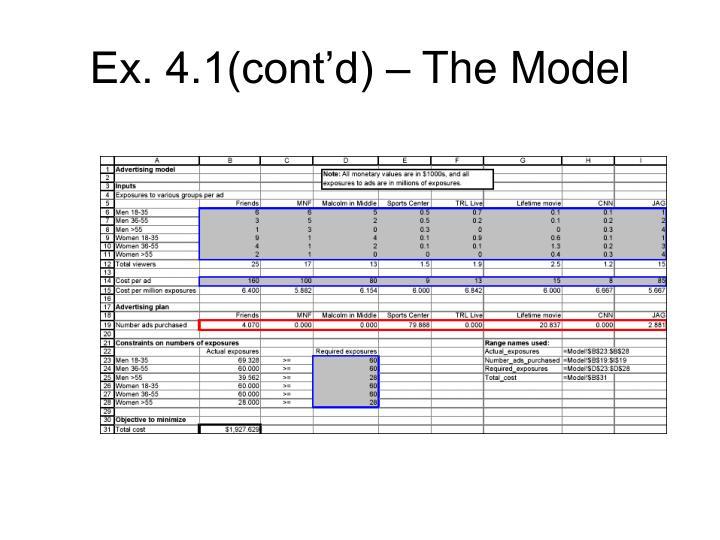Ex. 4.1(cont'd) – The Model