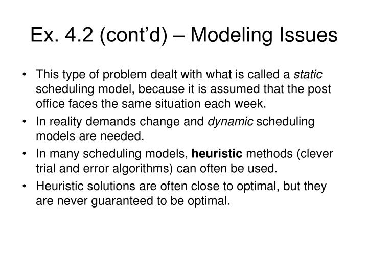 Ex. 4.2 (cont'd) – Modeling Issues