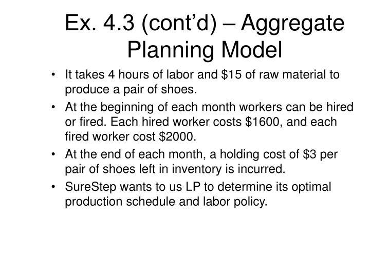 Ex. 4.3 (cont'd) – Aggregate Planning Model