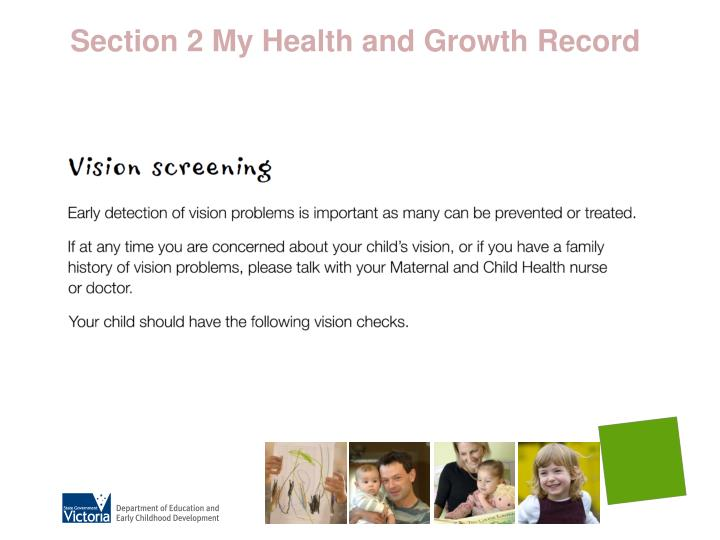 Section 2 My Health and Growth Record