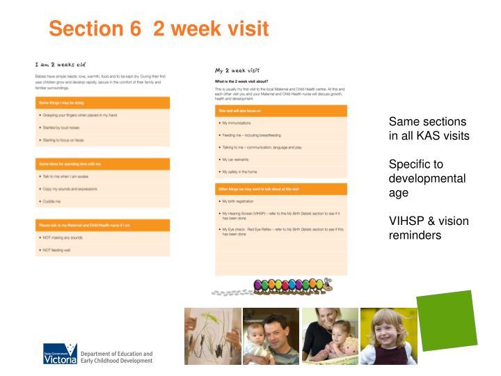 Section 6  2 week visit