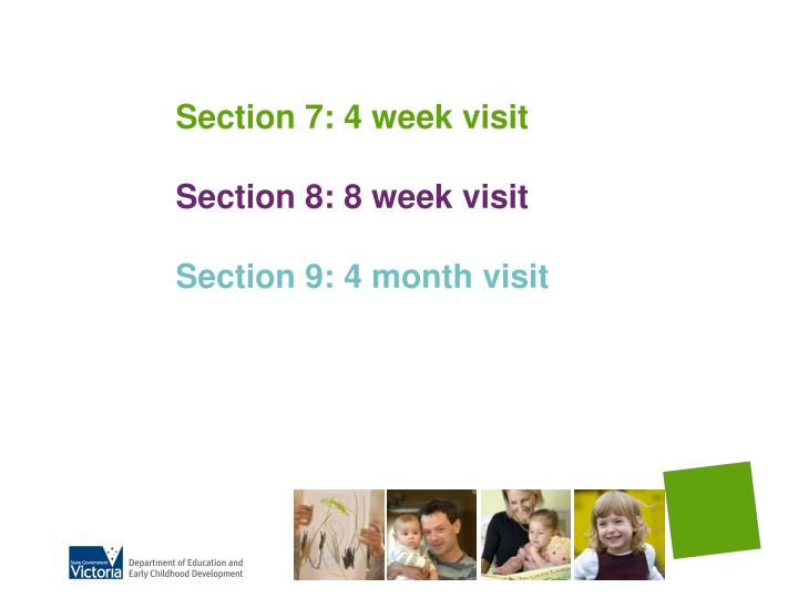 Section 7: 4 week visit