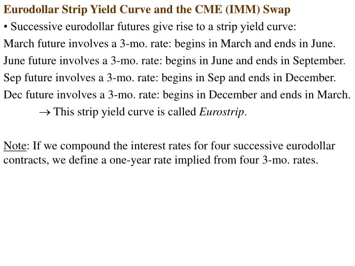 Eurodollar Strip Yield Curve and the CME (IMM) Swap