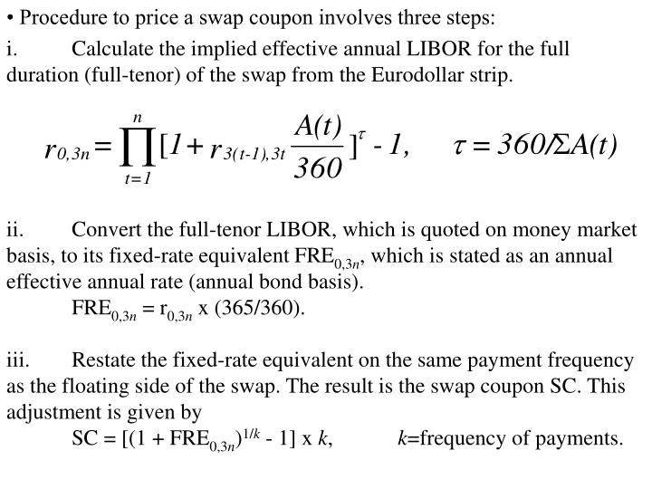 • Procedure to price a swap coupon involves three steps: