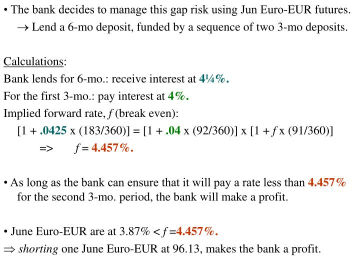 • The bank decides to manage this gap risk using Jun Euro-EUR futures.