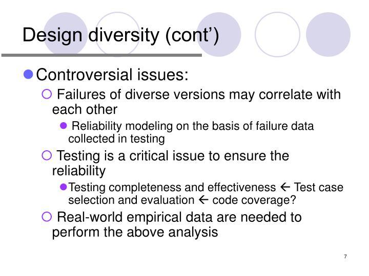 Design diversity (cont')