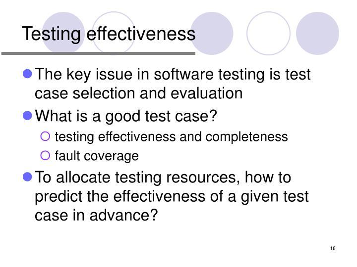 Testing effectiveness