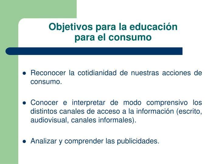 Objetivos para la educación