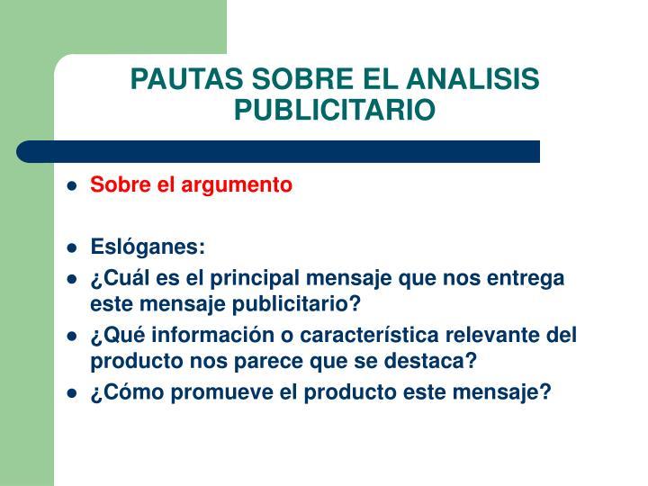 PAUTAS SOBRE EL ANALISIS PUBLICITARIO