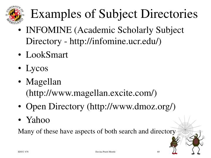 Examples of Subject Directories