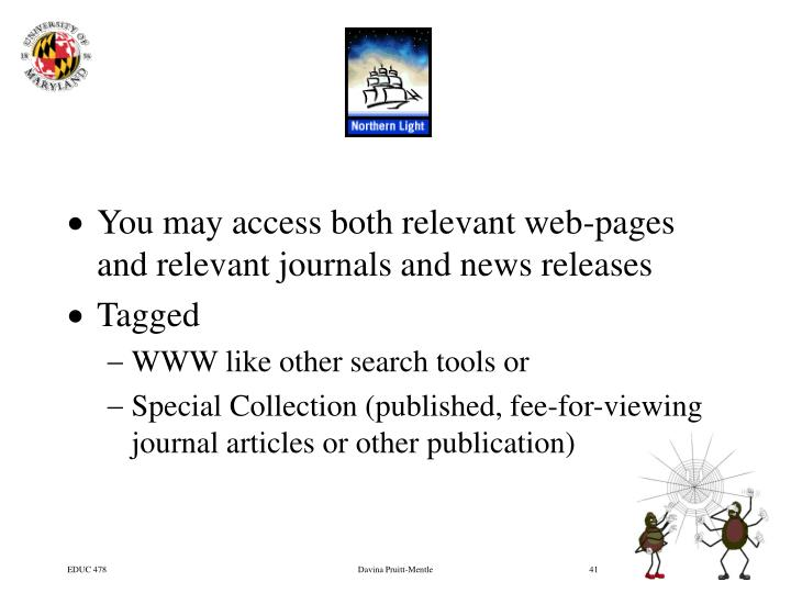You may access both relevant web-pages and relevant journals and news releases