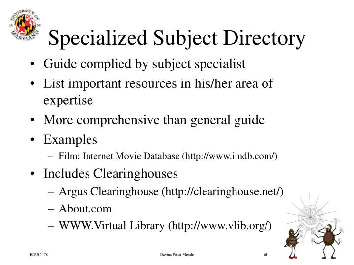 Specialized Subject Directory