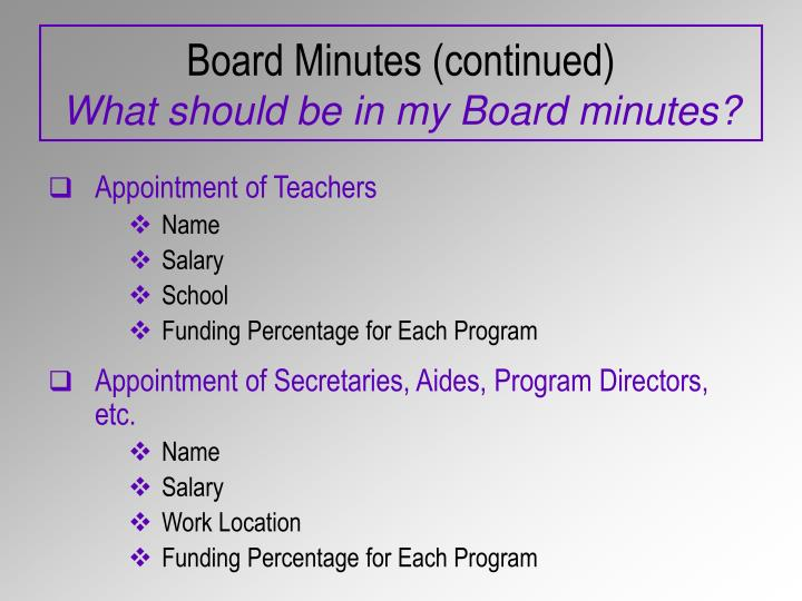 Board Minutes (continued)