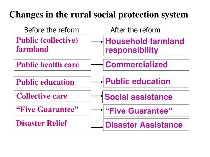 Changes in the rural social protection system