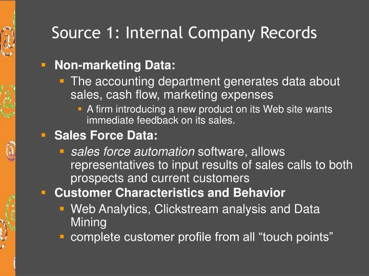 Source 1: Internal Company Records