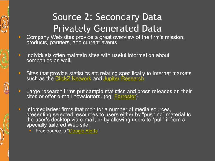 Source 2: Secondary Data