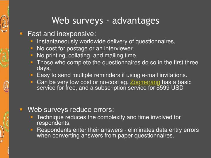 Web surveys - advantages