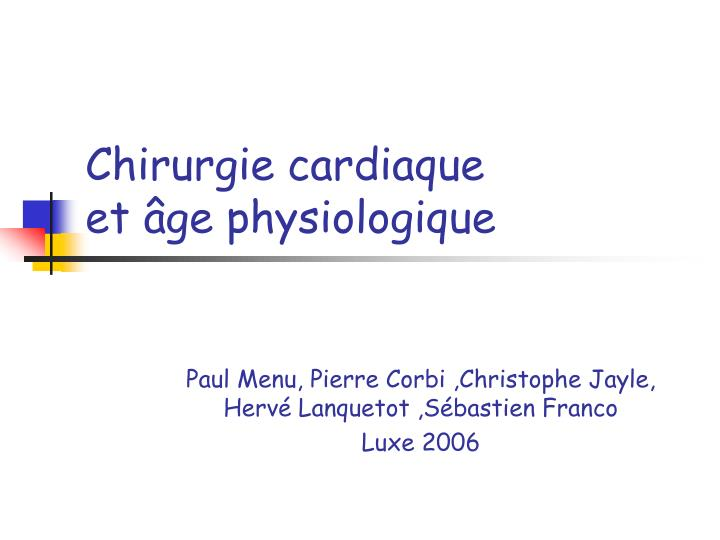 chirurgie cardiaque et ge physiologique n.