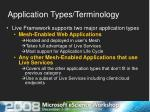 application types terminology