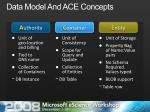 data model and ace concepts