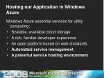 hosting our application in windows azure