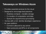 takeaways on windows azure