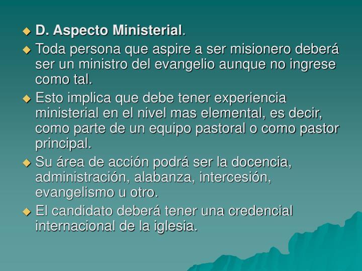 D. Aspecto Ministerial